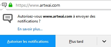 Autorisation de notification sous Firefox